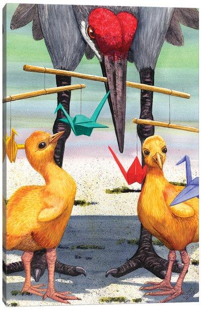 Baby Cranes Canvas Art Print
