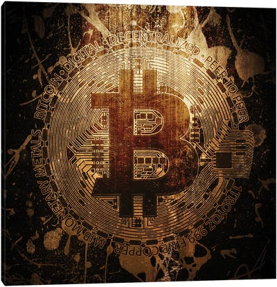 Bitcoin Grunge Canvas Art Print