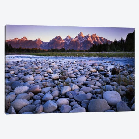 Teton Range As Seen From The Bank Of The Snake River, Grand Teton National Park, Wyoming, USA Canvas Print #CGU10} by Charles Gurche Canvas Art