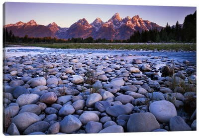 Teton Range As Seen From The Bank Of The Snake River, Grand Teton National Park, Wyoming, USA Canvas Art Print