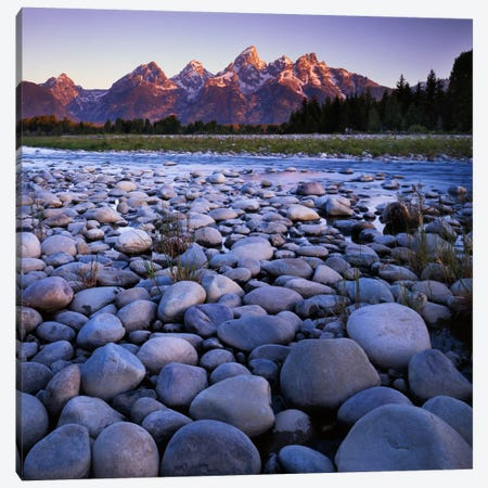 Teton Range As Seen From The Snake River, Grand Teton National Park, Wyoming, USA Canvas Print #CGU11} by Charles Gurche Canvas Artwork