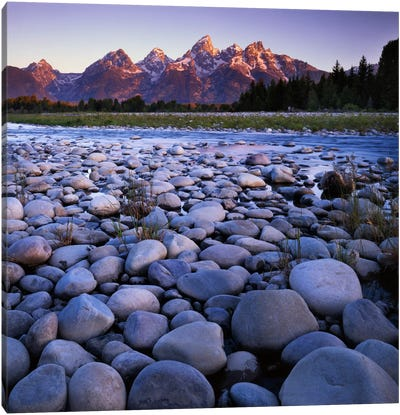 Teton Range As Seen From The Snake River, Grand Teton National Park, Wyoming, USA Canvas Art Print
