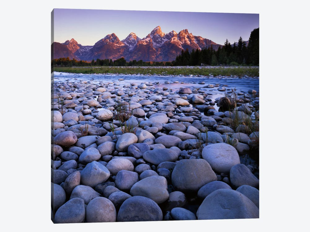 Teton Range As Seen From The Snake River, Grand Teton National Park, Wyoming, USA by Charles Gurche 1-piece Canvas Wall Art