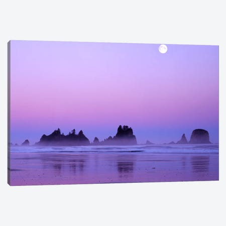 Magnificent Sunset With Full Moon, Point Of Arches, Shi Shi Beach, Olympic National Park, Washington, USA Canvas Print #CGU5} by Charles Gurche Canvas Print