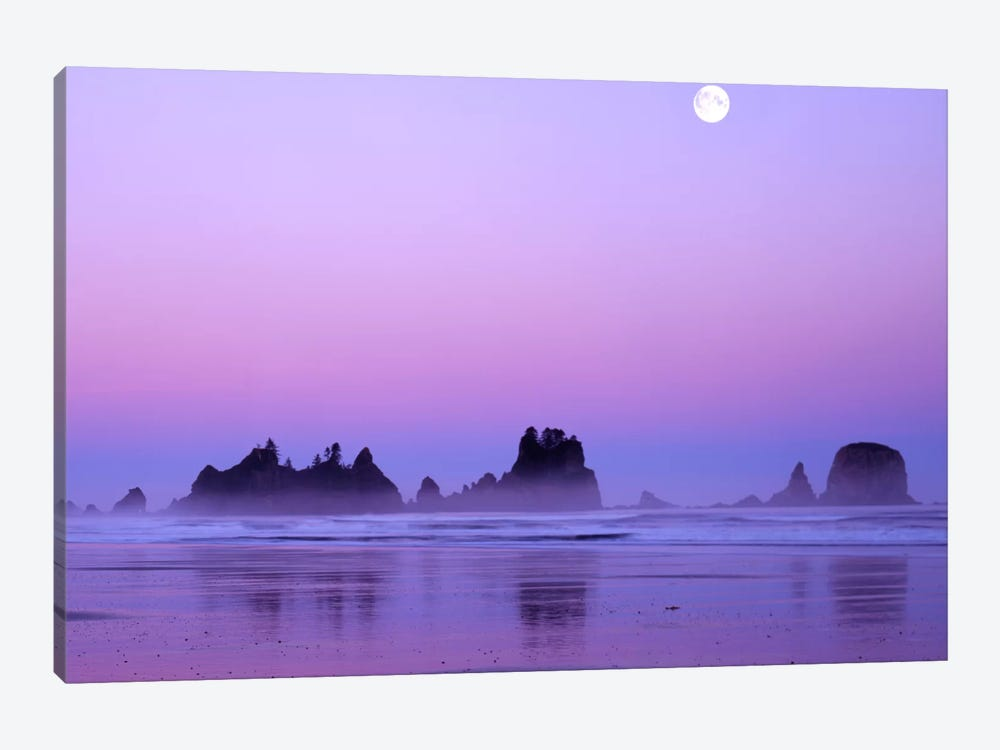 Magnificent Sunset With Full Moon, Point Of Arches, Shi Shi Beach, Olympic National Park, Washington, USA by Charles Gurche 1-piece Canvas Art