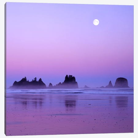 Full Moon At Sunset, Point Of Arches, Shi Shi Beach, Olympic National Park, Washington, USA Canvas Print #CGU6} by Charles Gurche Canvas Art Print