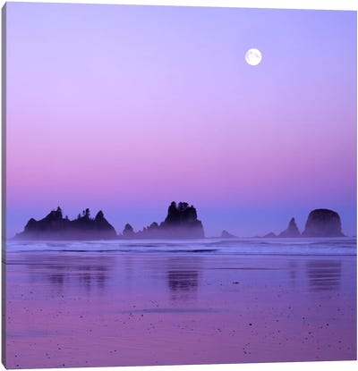 Full Moon At Sunset, Point Of Arches, Shi Shi Beach, Olympic National Park, Washington, USA Canvas Art Print