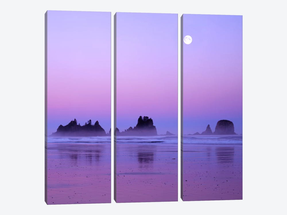 Full Moon At Sunset, Point Of Arches, Shi Shi Beach, Olympic National Park, Washington, USA 3-piece Canvas Art Print