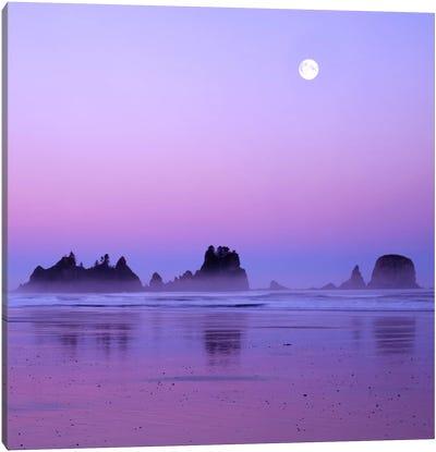 Full Moon At Sunset, Point Of Arches, Shi Shi Beach, Olympic National Park, Washington, USA Canvas Art Print