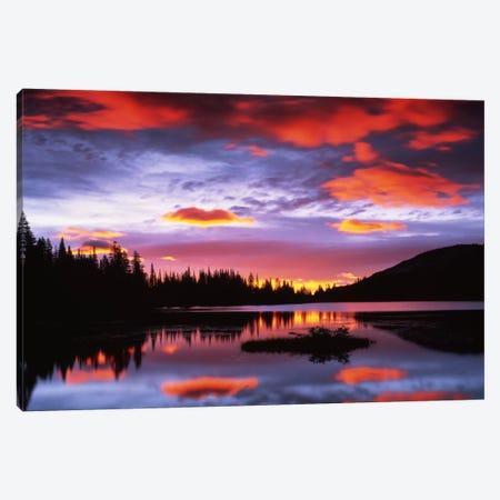 Cloudy Sunset I, Reflection Lake, Mount Rainier National Park, Washington, USA Canvas Print #CGU7} by Charles Gurche Canvas Art Print
