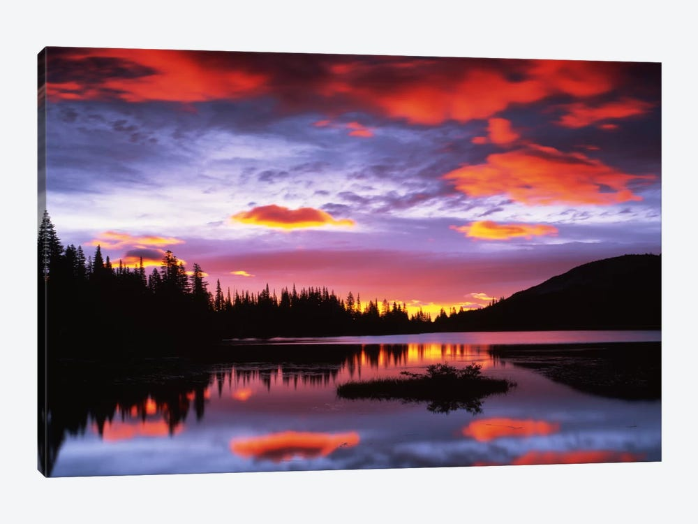 Cloudy Sunset I, Reflection Lake, Mount Rainier National Park, Washington, USA by Charles Gurche 1-piece Canvas Artwork