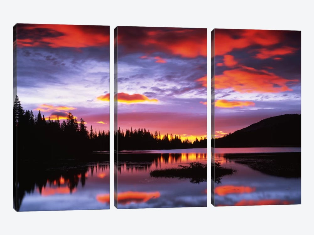 Cloudy Sunset I, Reflection Lake, Mount Rainier National Park, Washington, USA by Charles Gurche 3-piece Canvas Artwork