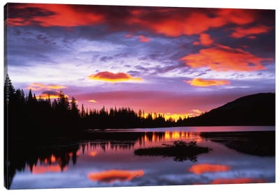 Cloudy Sunset I, Reflection Lake, Mount Rainier National Park, Washington, USA Canvas Art Print
