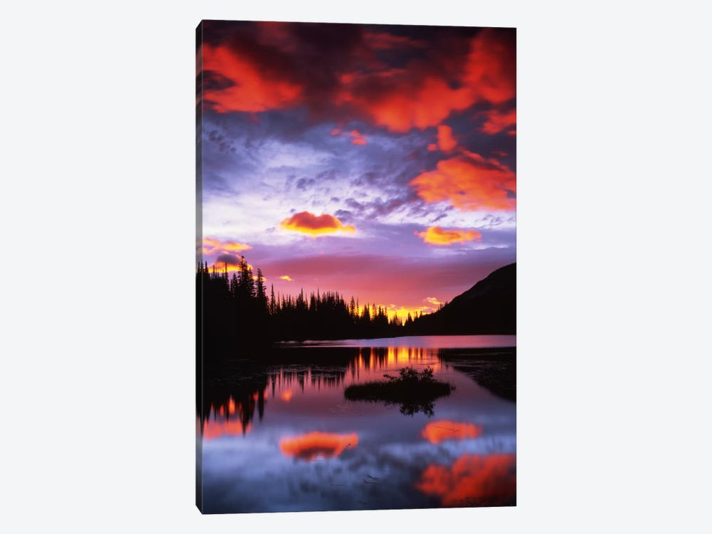 Cloudy Sunset II, Reflection Lake, Mount Rainier National Park, Washington, USA by Charles Gurche 1-piece Canvas Art Print