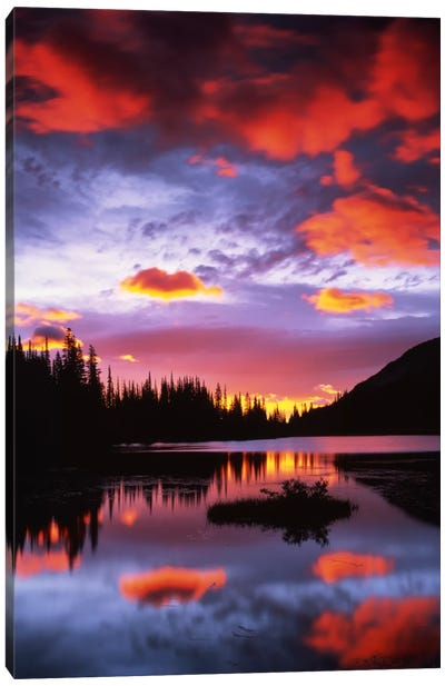 Cloudy Sunset II, Reflection Lake, Mount Rainier National Park, Washington, USA Canvas Art Print
