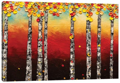 Autumn Birch Trees Canvas Art Print