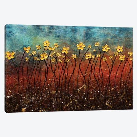 Golden Flowers Canvas Print #CGZ60} by Carmen Guedez Canvas Art