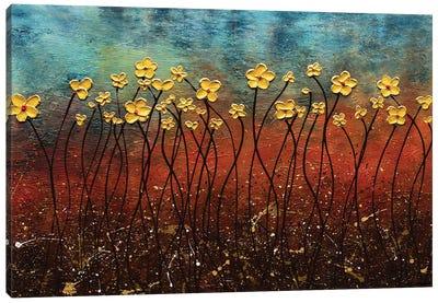 Golden Flowers Canvas Art Print