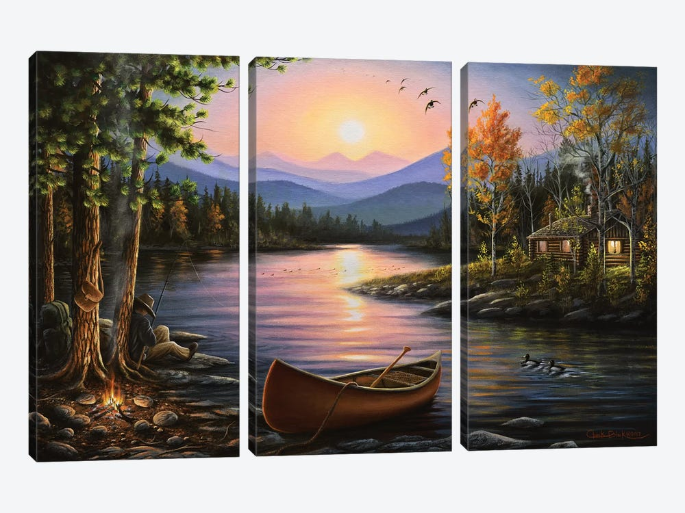 Campfire Stories by Chuck Black 3-piece Canvas Print