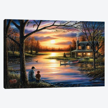 Father And Son 3-Piece Canvas #CHB27} by Chuck Black Art Print