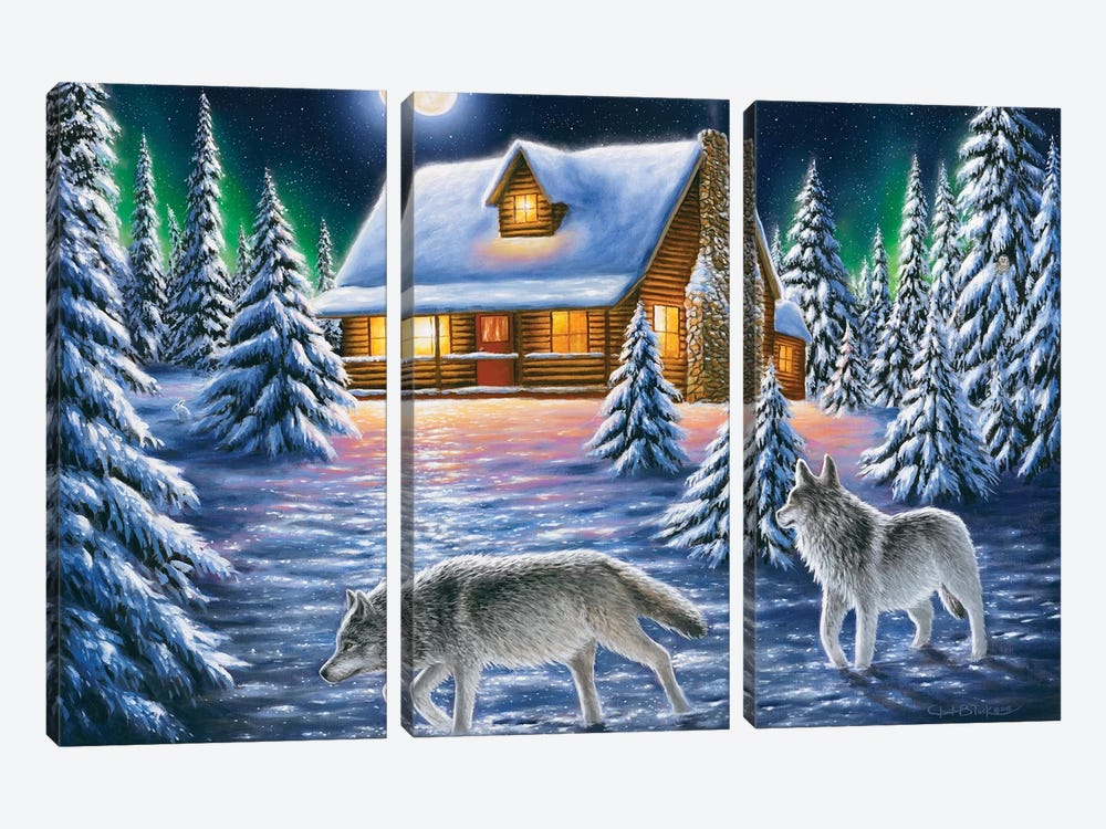 Nighttime Prowl by Chuck Black 3-piece Canvas Artwork