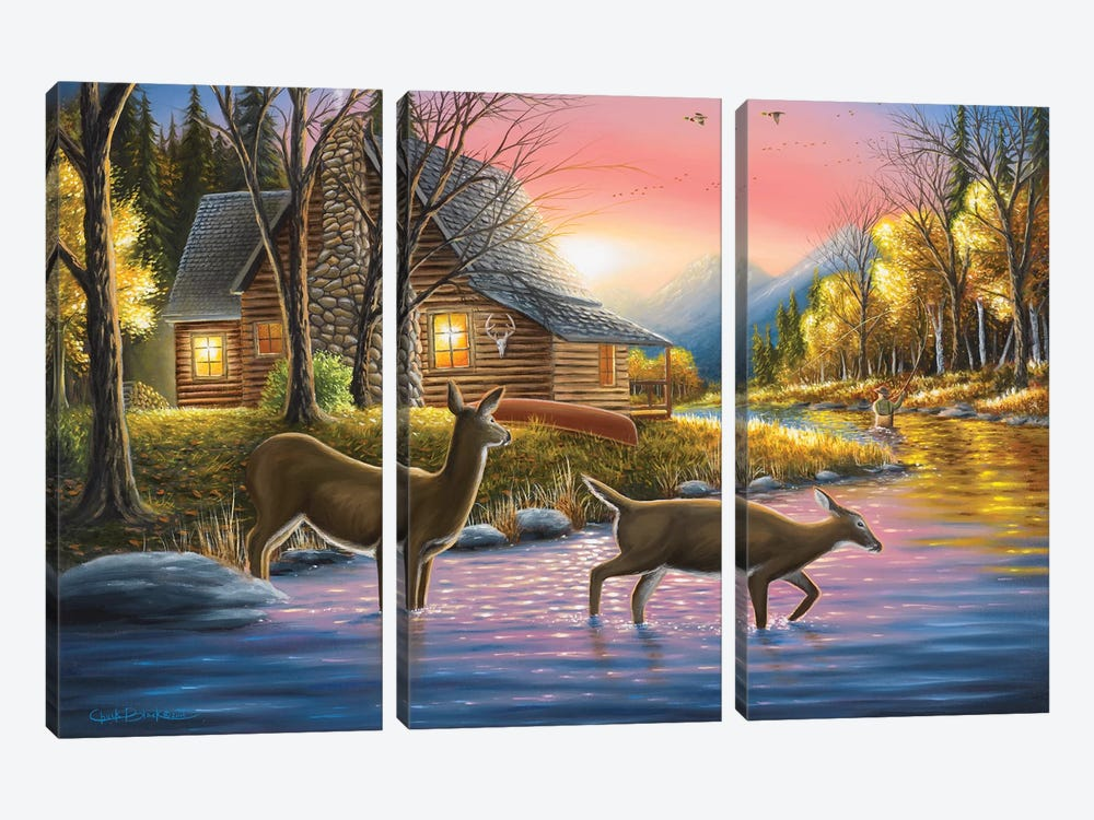 River's Crossing by Chuck Black 3-piece Canvas Artwork