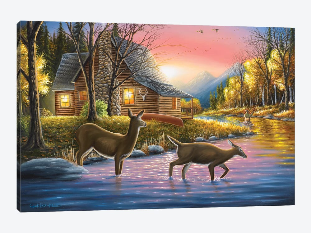 River's Crossing by Chuck Black 1-piece Canvas Artwork