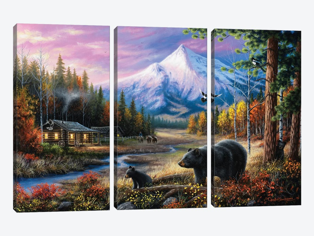 Routine Visitors by Chuck Black 3-piece Canvas Print