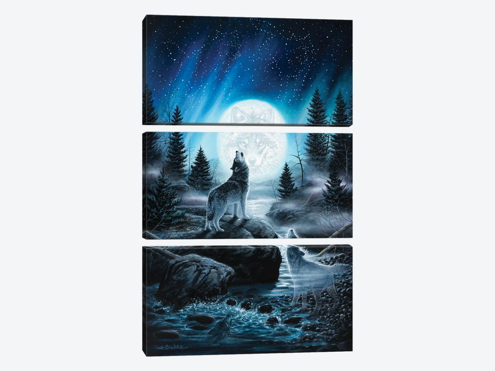 Spirits Of The Wild by Chuck Black 3-piece Canvas Print