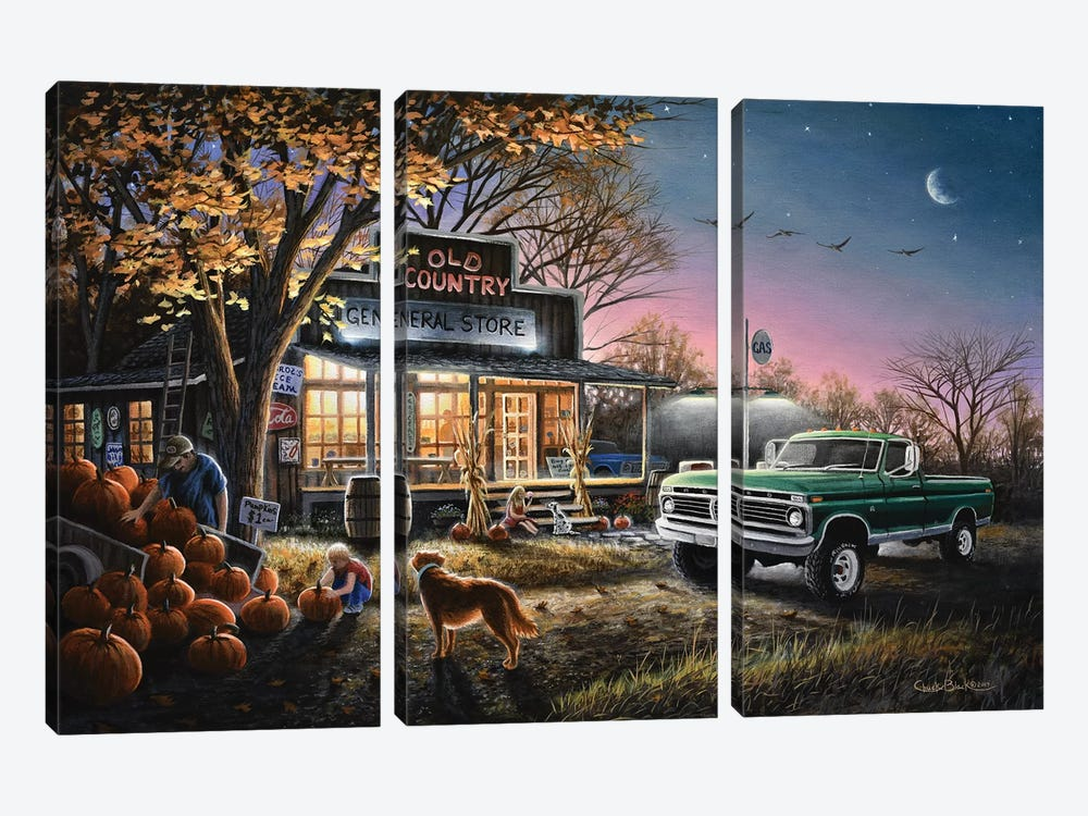 The Harvest Moon by Chuck Black 3-piece Canvas Art