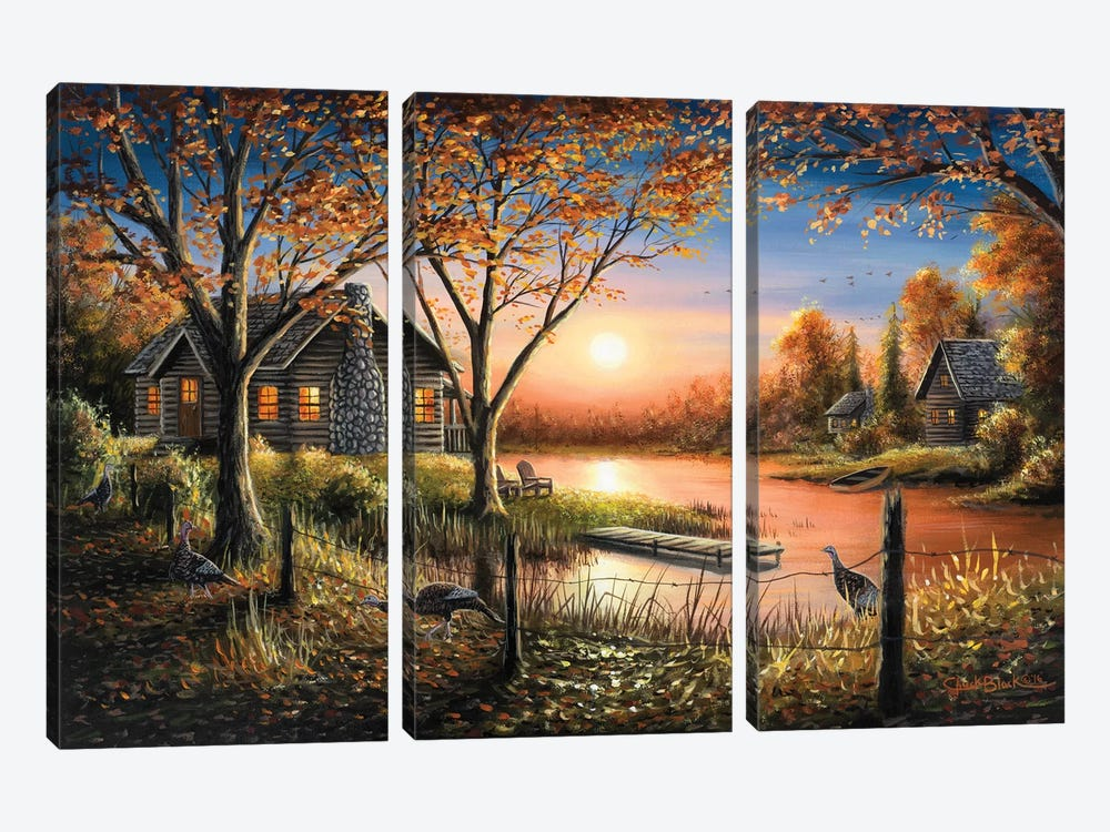 An Autumn Sunset by Chuck Black 3-piece Canvas Artwork