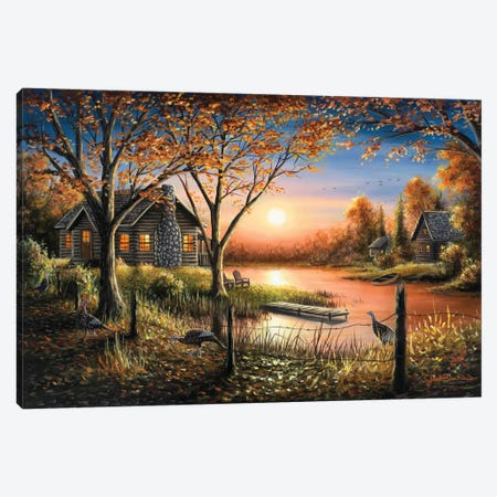 An Autumn Sunset 3-Piece Canvas #CHB6} by Chuck Black Canvas Art