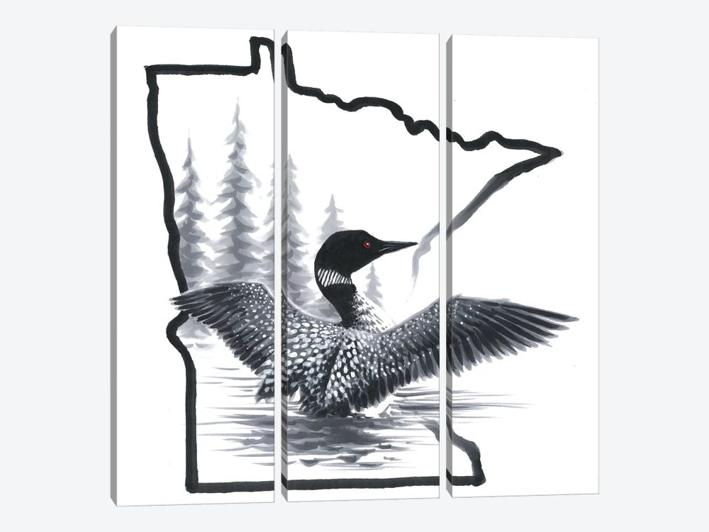 Minnesota Loon by Chuck Black 3-piece Canvas Print