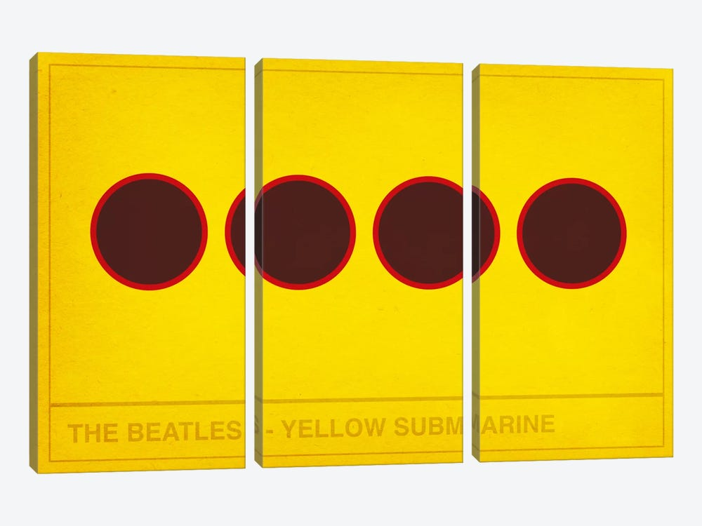 The Yellow Submarine by 5by5collective 3-piece Canvas Print