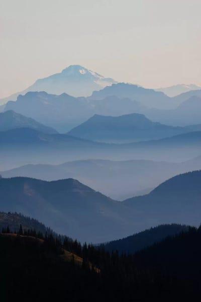 Foggy Mountain Landscape Ii Cascade Range Mount Ken