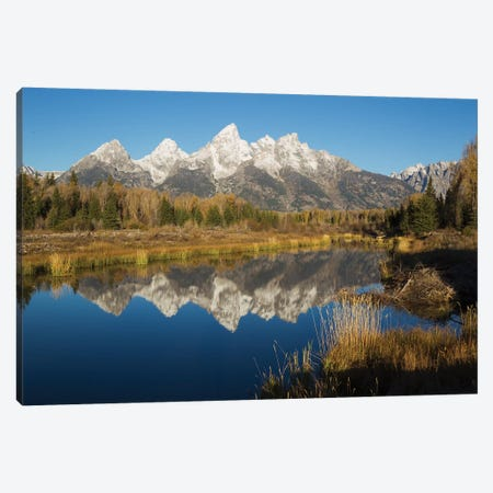 Grand Tetons Reflecting in Beaver Pond Canvas Print #CHE20} by Ken Archer Canvas Art Print