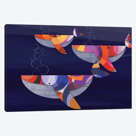 Whales Canvas Print #CHH30} by Chhaya Shrader Art Print