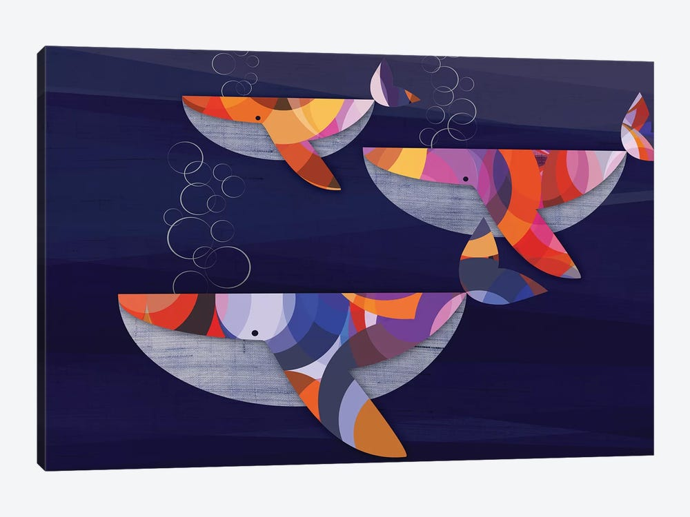 Whales by Chhaya Shrader 1-piece Canvas Artwork
