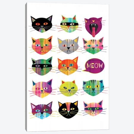 Cats 3-Piece Canvas #CHH35} by Chhaya Shrader Canvas Artwork