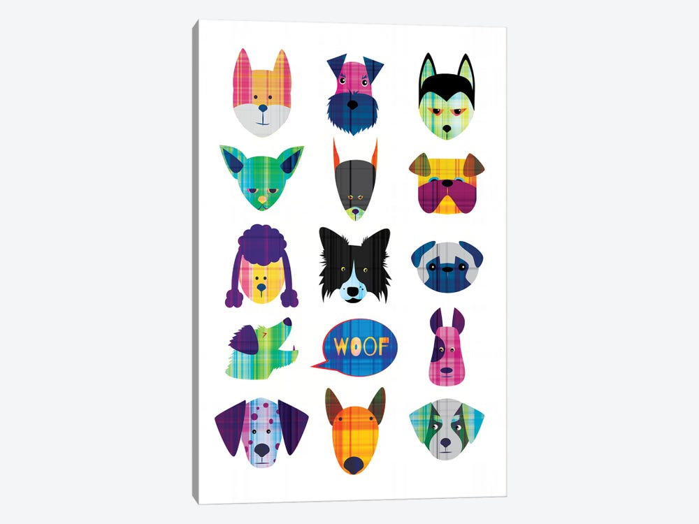 Dogs by Chhaya Shrader 1-piece Canvas Art Print