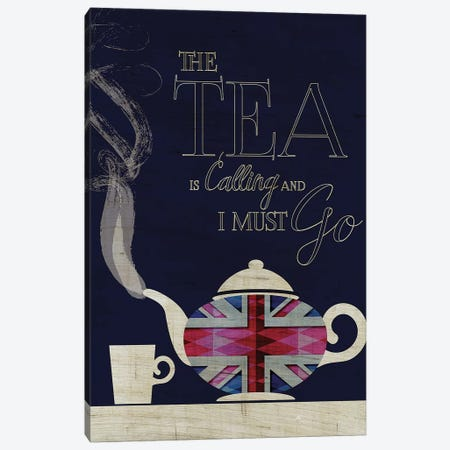 The Tea Is Calling, Union Jack Canvas Print #CHH52} by Chhaya Shrader Art Print