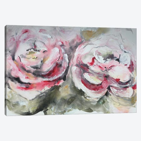 Pair of Pink Roses Landscape Canvas Print #CHP16} by Marcy Chapman Canvas Wall Art