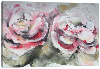 Pair of Pink Roses Landscape Canvas Art Print