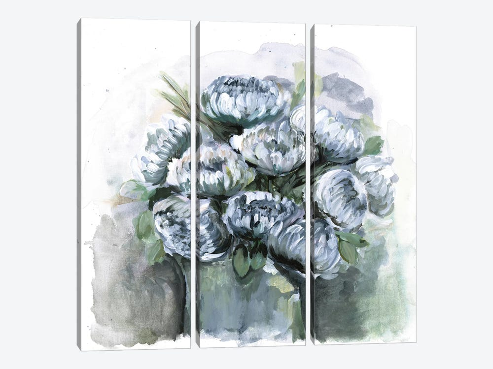 Potted Chrysanthemums by Marcy Chapman 3-piece Canvas Print