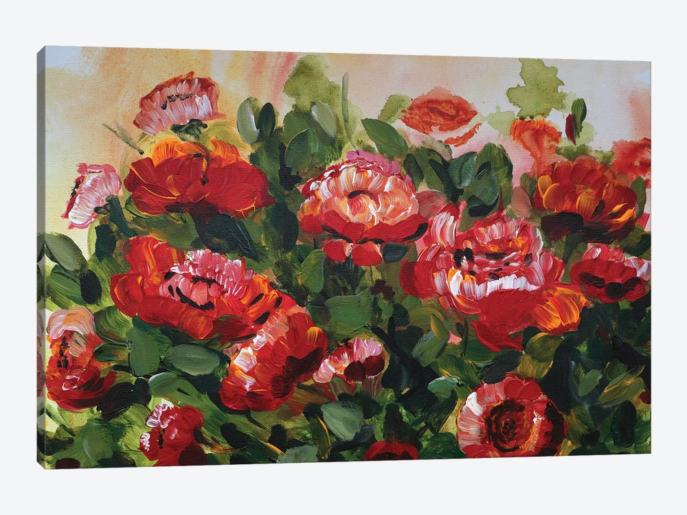 Red Poppies Garden by Marcy Chapman 1-piece Canvas Artwork