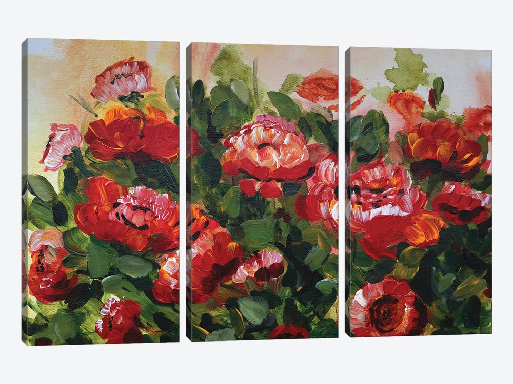 Red Poppies Garden by Marcy Chapman 3-piece Canvas Wall Art
