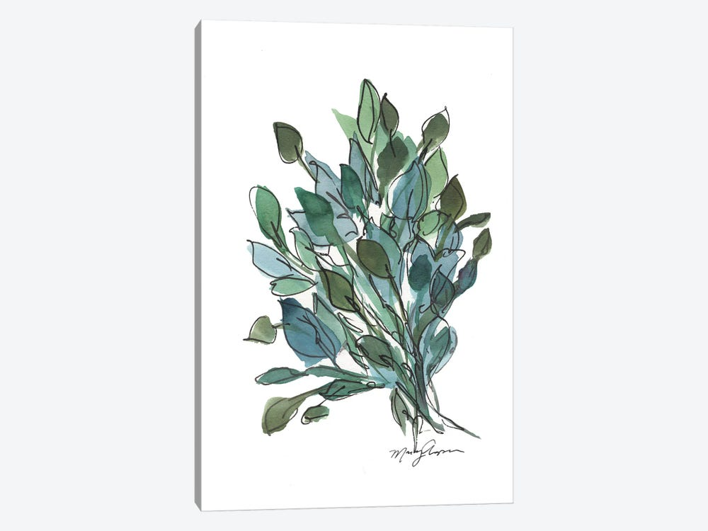 Blue Green Leaves by Marcy Chapman 1-piece Canvas Print