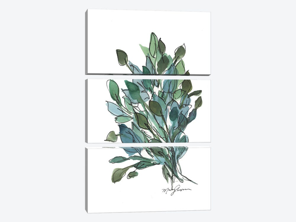 Blue Green Leaves by Marcy Chapman 3-piece Art Print