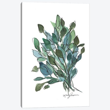 Blue Green Leaves Canvas Print #CHP1} by Marcy Chapman Canvas Wall Art