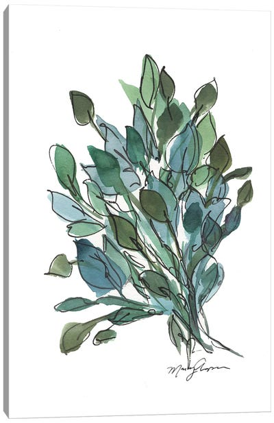 Blue Green Leaves Canvas Art Print